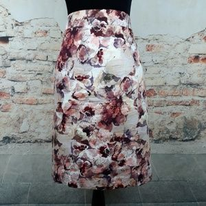 Ann Taylor 10 Brown Ivory Purple Fall Floral Skirt